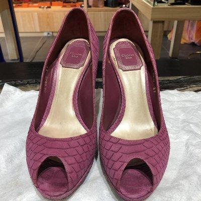 *金選名店*Dior*CD*出清價 粉紫色蛇皮高跟鞋 / 魚口鞋 37號
