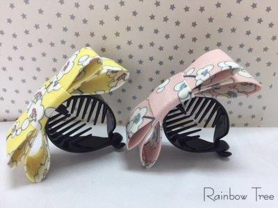~彩虹樹 Rainbow Tree~韓國 印花手作蝴蝶結 香蕉夾 馬尾橢圓豎夾 髮夾