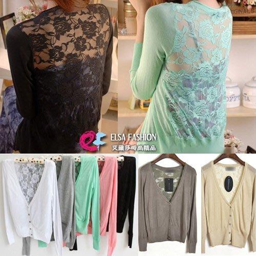 韓版針織外套 艾爾莎 OL族冷氣空調罩衫背後鏤空蕾絲外套【TAE2197】