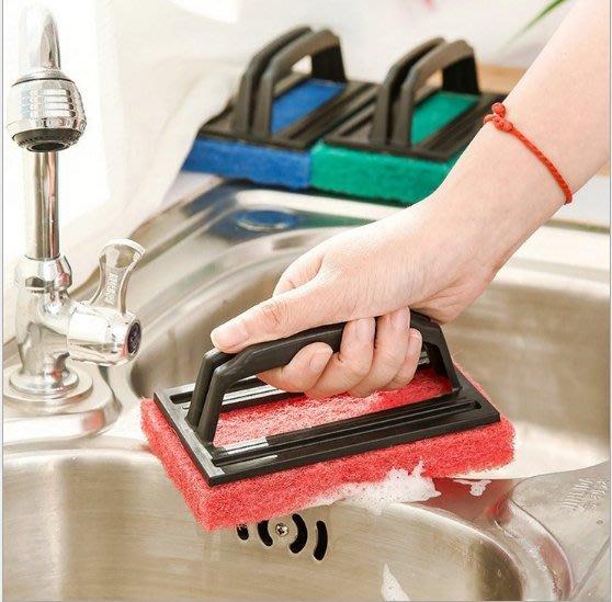 帶手柄強力去汙海綿底清潔刷子  浴缸刷  瓷磚擦
