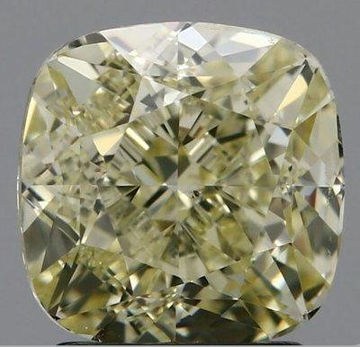 俐格鑽石珠寶批發 GIA 枕形黃彩鑽 Fancy Light Yellow 2.24克拉 特價244,000