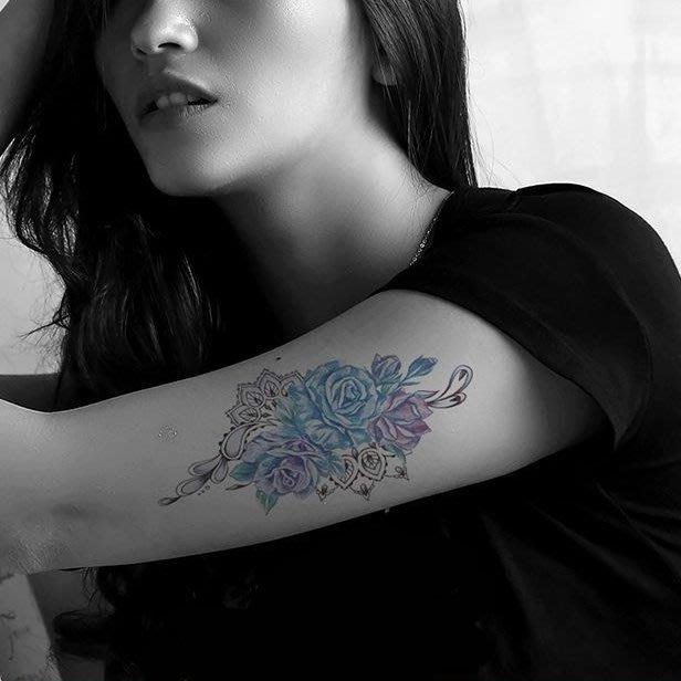 【萌古屋】藍紫花朵 - 男女防水紋身貼紙刺青貼紙AQ-013 K19