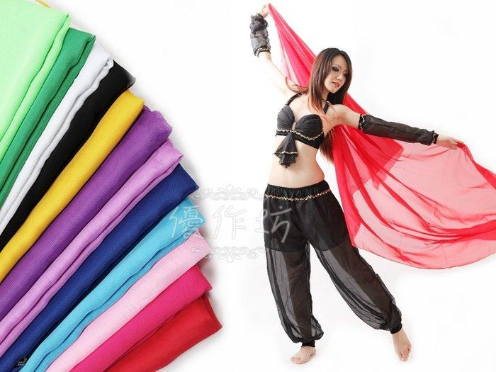 【優作坊】114_金線邊肚皮舞手紗巾、印度舞沙麗、雙紗舞