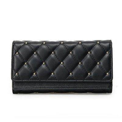 ZIHOPE 韓版新款女士錢包女包時尚復古鉚釘菱格三折皮夾大容量卡包零錢包ZI812