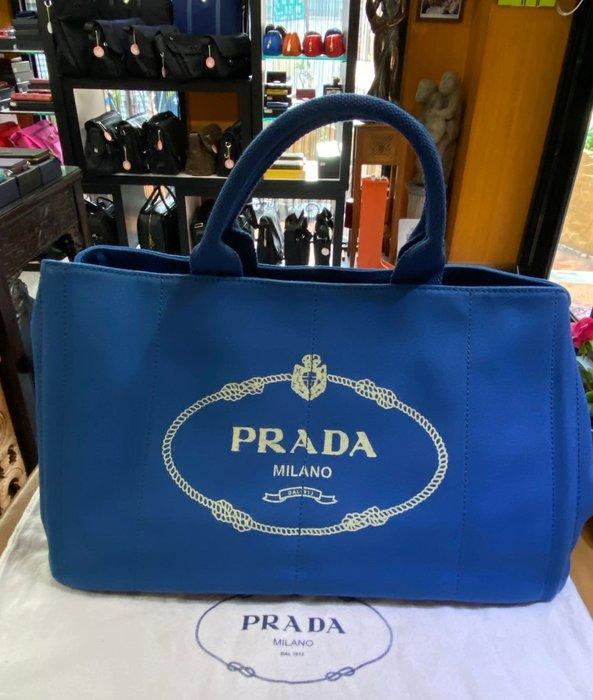 美麗堡outlet精品 PRADA BN1872 帆布手提包 印花大Logo (大-藍) 【現貨】