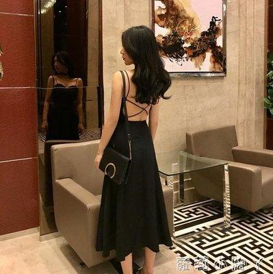 抹胸裙港味chic交叉綁帶露背中長款女裙夏新款優雅吊帶氣質洋裝