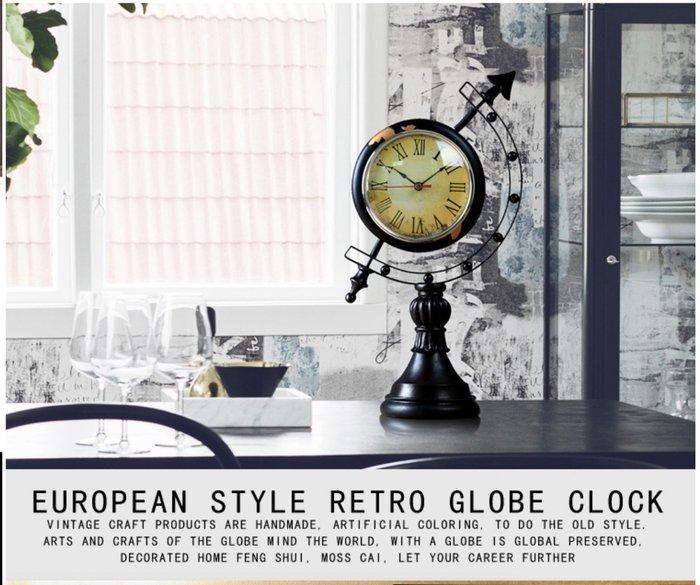 【Uluru】歐式復古 仿舊時鐘 羅馬數字時鐘 工業風格 地球儀 裝飾 擺件