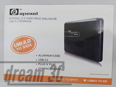 【dream3c】apexel external 2.5 hard drive enclosure USB 2.0