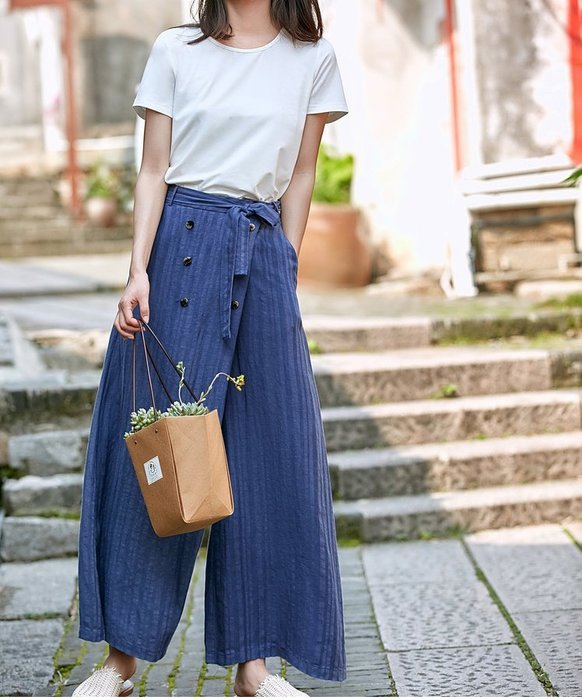 夏季設計款搭片斜門襟雙排釦時尚顯瘦闊腿褲(老銀屋)