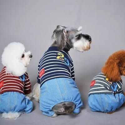 狗狗衣服 秋冬寵物衣-可愛休閒條紋牛仔寵物用品3色73ih60[獨家進口][米蘭精品]