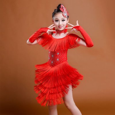 5Cgo【鴿樓】會員有優惠  536345168405 兒童拉丁舞演出服少兒女童拉丁舞裙演出表演比賽服裝新款亮片流蘇