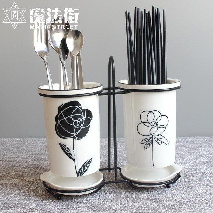 陶瓷筷子筒瀝水家用北歐收納置物架