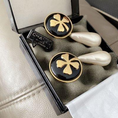 Chanel vintage 稀有幸運草 大珍珠水滴耳環 新竹市