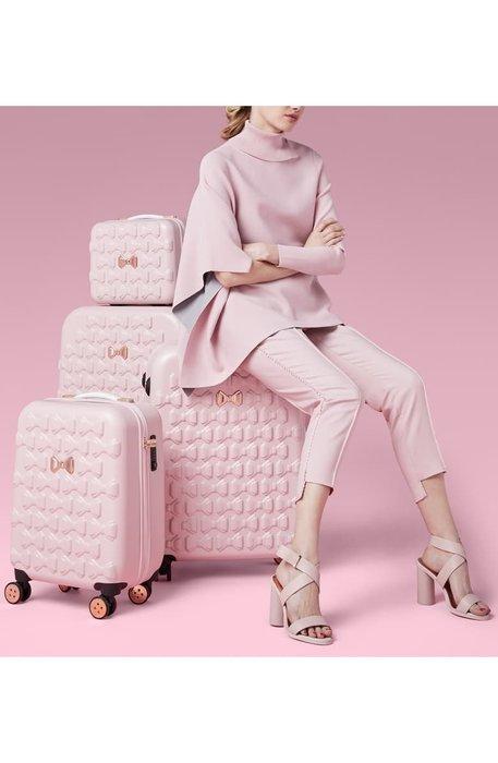 Ariels Wish預購英國代購TED BAKER粉紅色蝴蝶結浮雕登機箱硬殼行李箱旅行箱子倫敦限定版9/30寄三種尺寸