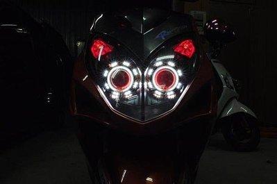 KYMCO 雷霆 RACING 遠近魚眼HID大燈模組改裝 H1 LED光圈 天使眼 惡魔眼 電鍍飾圈橘 40W55W可