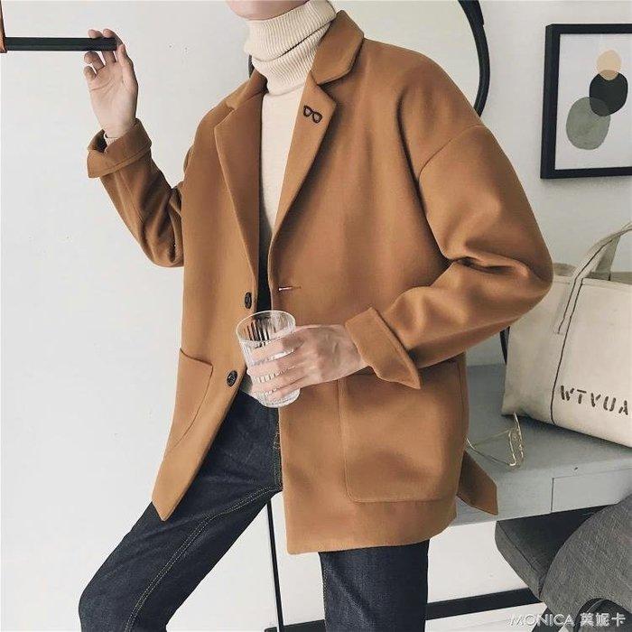 日繫毛呢短款大衣韓版帥氣時尚休閒百搭男生夾克外套潮流