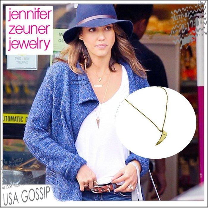 ㊣ 美國八卦小報 ㊣  Jennifer Zeuner 潔西卡艾芭同款鑲鑽牛角金色/銀色項鍊 現貨在台
