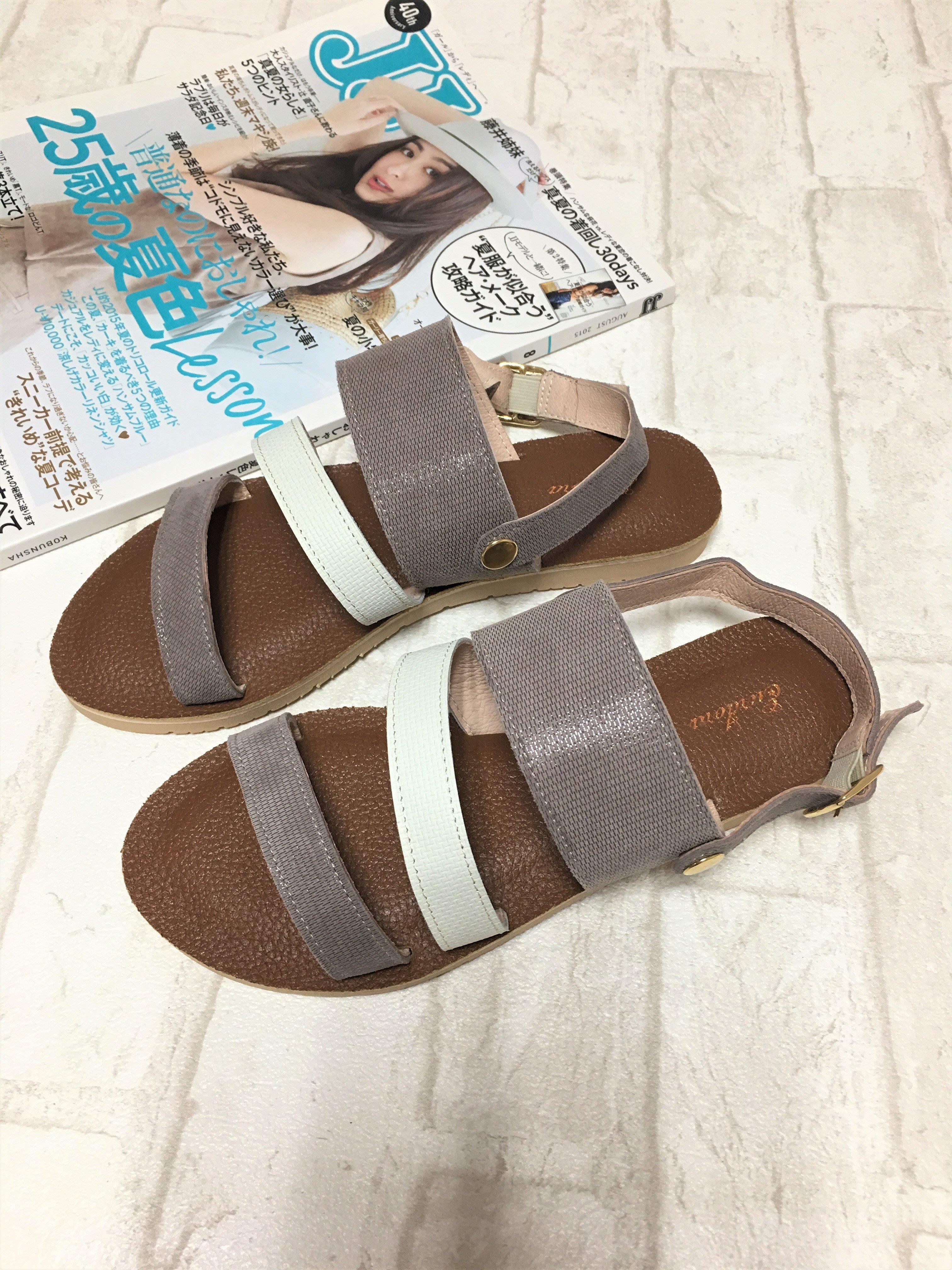 現貨出清~台灣手工製 全羊皮涼鞋/拖鞋兩穿–灰色 51803-6   米蘭風情