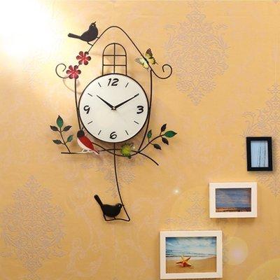 2017~創意掛鐘客廳彩繪靜音臥室鐘錶 現代簡約時鐘小鳥掛錶田園石英鐘QDSC-16949