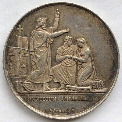 真品評級古幣古鈔收藏法國結婚銀章 16.5克 直徑33mm 手指戳+Argent 台北市
