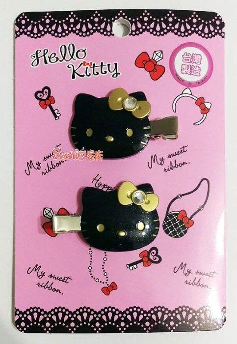 《東京家族》台灣製 HELLO KITTY 造型黑色鑲鑽蝴蝶結髮夾髮飾 1組2入