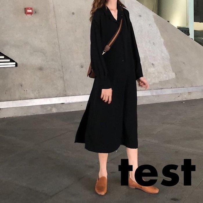 洋裝 正韓秋季冷淡風黑色西裝領襯衫裙迷你開叉紙片人顯瘦長袖洋裝女