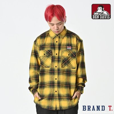 【Brand T】免運 BEN DAVIS BENS BIGGER SHIRT 黃色*格子*燈芯絨*寬版*長袖*襯衫