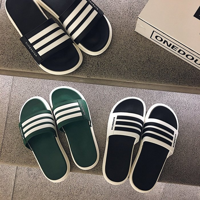 6Du spot~香港正品2020新款夏時尚外穿拖鞋男韓版潮軟底沙灘涼拖防滑一字拖