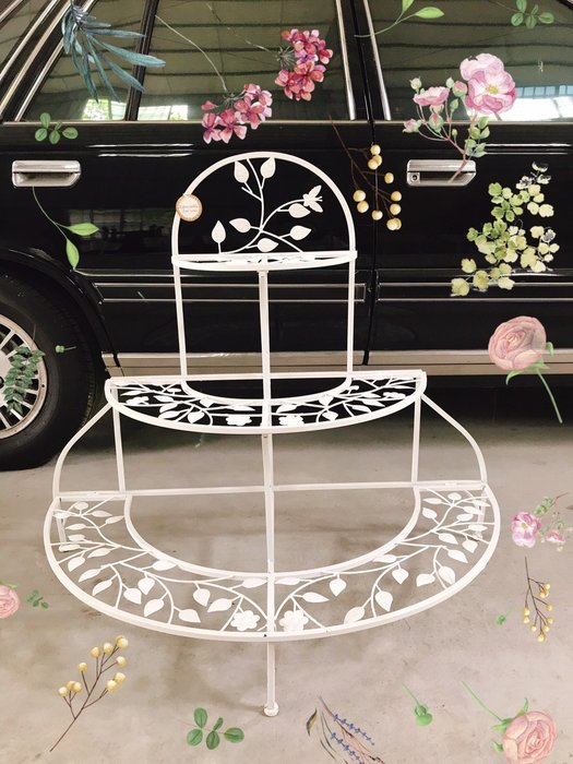 無折扣【華蕊】*鐵製古典半圓三層花架*居家裝飾 花園造景 花園佈置 庭院佈置 婚禮佈置 會場佈置 花架 低價 促銷 出清