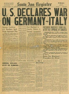 (徐宗懋圖文館) 二戰1941年12月11日 美國報紙《Santa Ann Register》原件