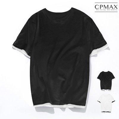 CPMAX 韓系Oversized假兩件五分T恤 大尺碼 t恤 大尺碼t恤 oversized 假兩件t恤 【T131】