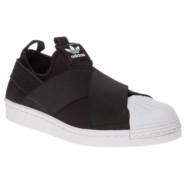 全新正品 Adidas Superstar Slip On W 交叉綁帶貝殼頭 黑白色 S81337 限量商品