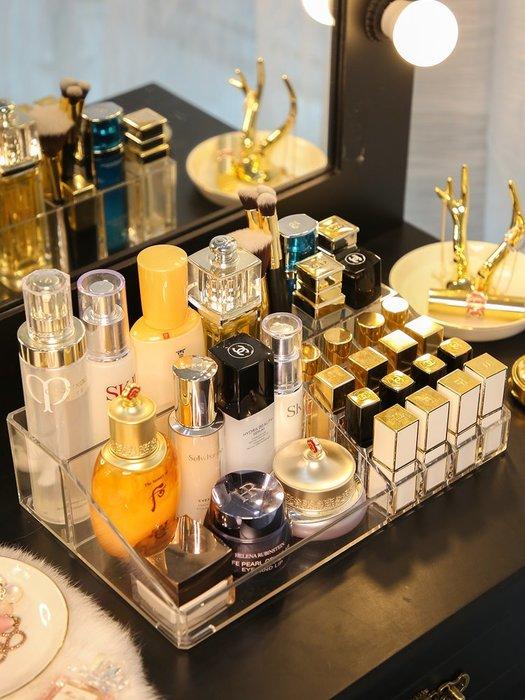 乾一ins風北歐化妝品收納盒超大號亞克力梳妝臺桌面口紅護膚置物架子