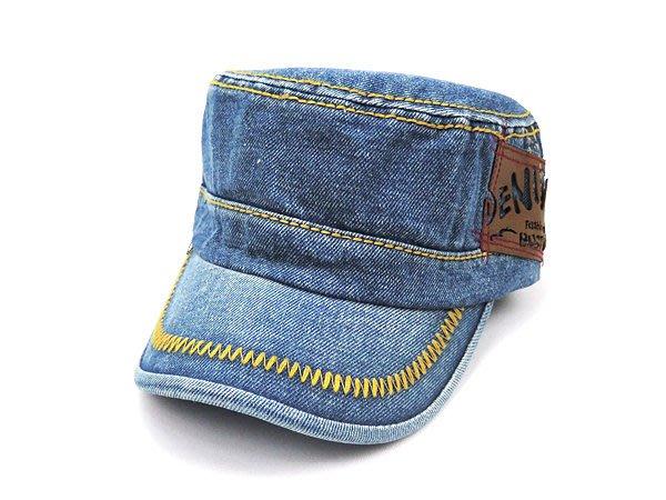 【二鹿帽飾】男帽女帽 -新潮流時尚新風格 /牛仔布/ 牛仔貼布軍帽 /硬挺 軍帽-深藍