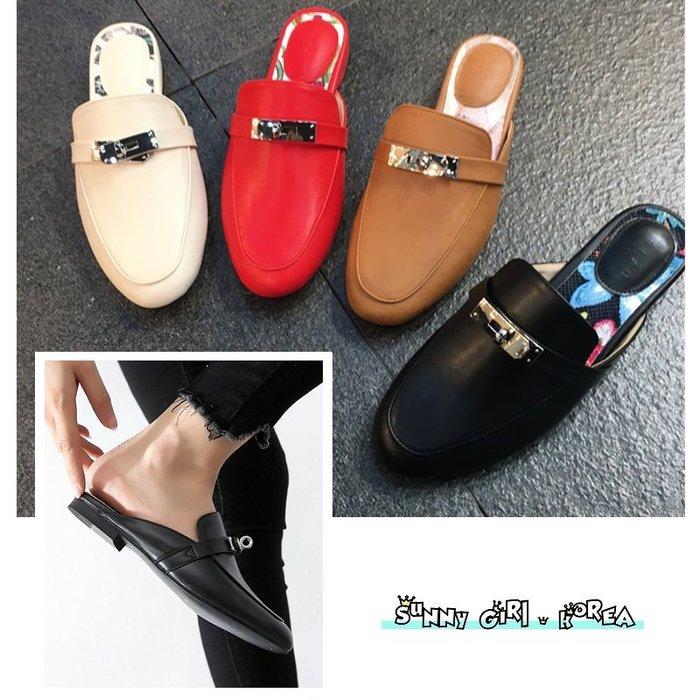 正韓穆勒鞋*Sunny Girl*韓國代購KELLY扣包頭低跟半拖鞋懶人鞋 2019十二月新款 - [WH1437]
