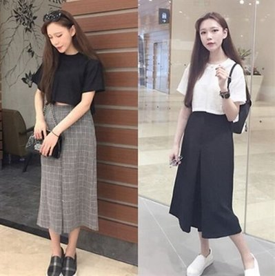【現貨51】寬褲 百搭高腰格紋寬鬆顯瘦褲裙休閒七分褲 黑色 灰色