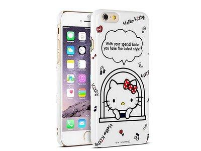 尼德斯Nydus~* 日本正版 三麗鷗 Hello kitty 凱蒂貓 白底窗邊 硬殼 手機殼 4.7吋 iPhone6