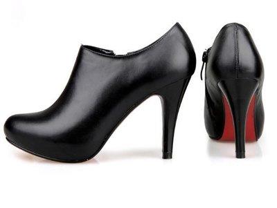 高跟裸靴 女鞋子-時尚帥氣皮革女靴子s137[韓國進口][米蘭精品]