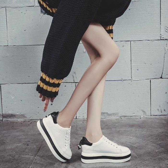 小白鞋女新款百搭學生單鞋厚底鬆糕鞋休閒單鞋內增高女鞋
