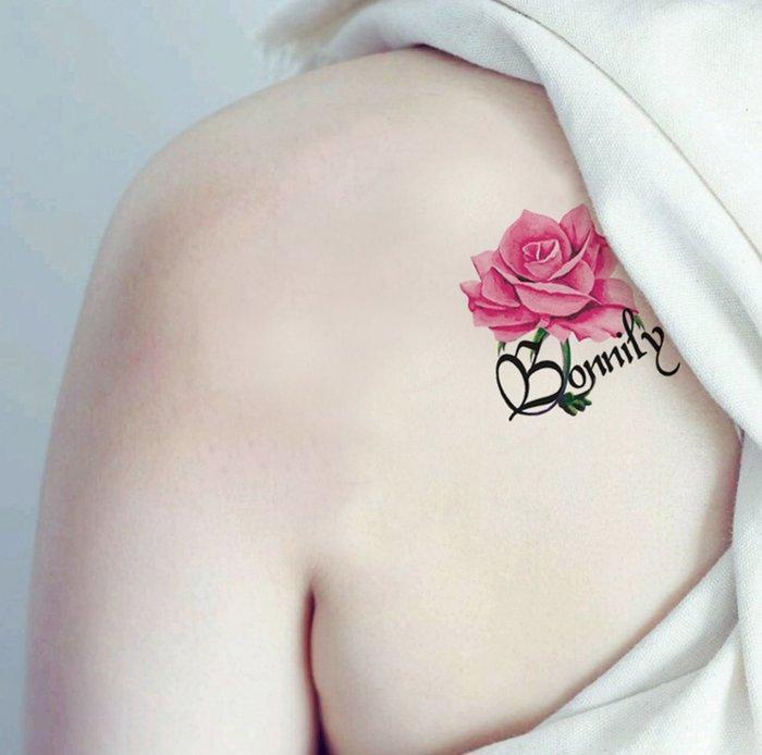 【萌古屋】Bonnily玫瑰單圖 - 男女防水韓風簡約紋身貼紙刺青貼紙K13