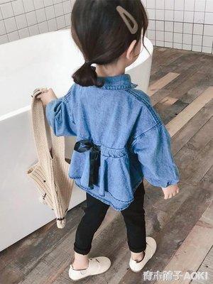 女童裝新款長袖中長款牛仔襯衫寬鬆棉質上衣韓版小童潮
