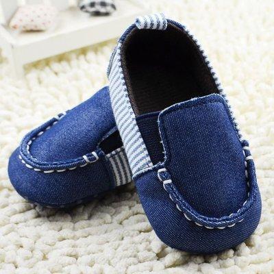 森林寶貝屋~牛仔直條紋休閒鞋~學步鞋~...