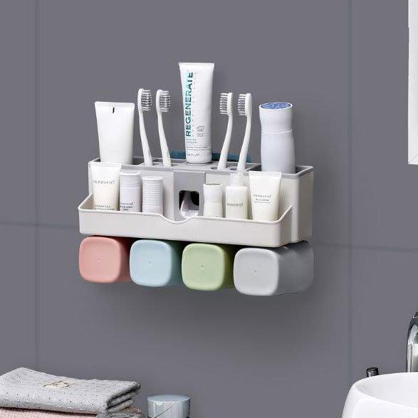 簡約自動擠牙膏器套件-2杯裝情侶款