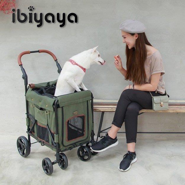 COCO《載重25KG》IBIYAYA大米號寵物推車FS1880(軍綠)中大型犬/老犬外出推車/加深筒狀座艙/依比呀呀