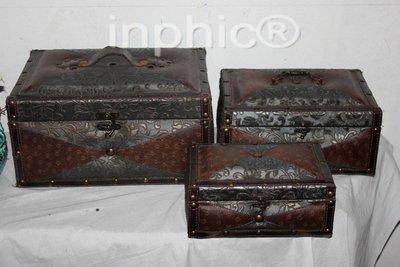 INPHIC-歐式古典風格家居裝飾品 皮革箱子 仿舊箱 古董箱 手提箱3件套