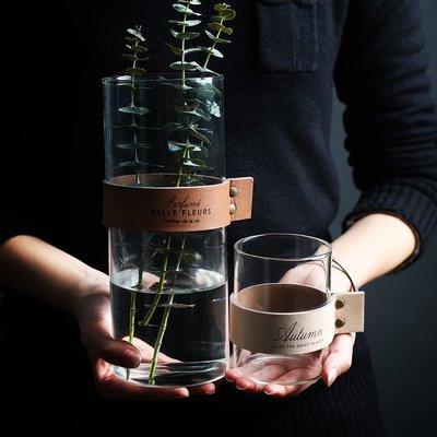 簡約創意玻璃花瓶客廳擺件 直筒插花幹花瓶水培瓶水杯容器(小款)_☆優購好SoGood☆