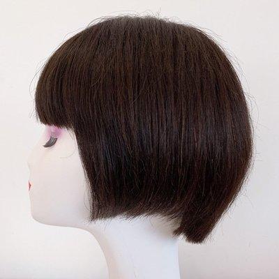 整頂假髮真髮絲短假髮-逼真齊瀏海內彎直髮女假髮2色73vr17[獨家進口][米蘭精品]