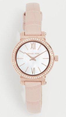 ◎美國代買◎Michael Kors Petite Sofie仿鱷魚皮壓紋淡粉色錶帶水鑽圓錶面皮錶帶水鑽玫瑰金粉色腕錶
