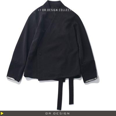 ►DR.DESIGN│DR2283防疫特價980-簡約暗黑設計款 初秋 防皺材質 無領 單釦 反摺袖子 垂感西裝夾克外套