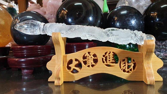 天然白水晶雕文昌筆 龍 大筆進財 附贈木架禮盒裝【東大開運館】